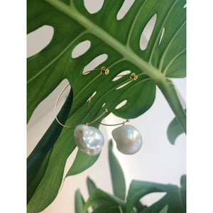 Freshwater Pearls Hoop Earrings Gold