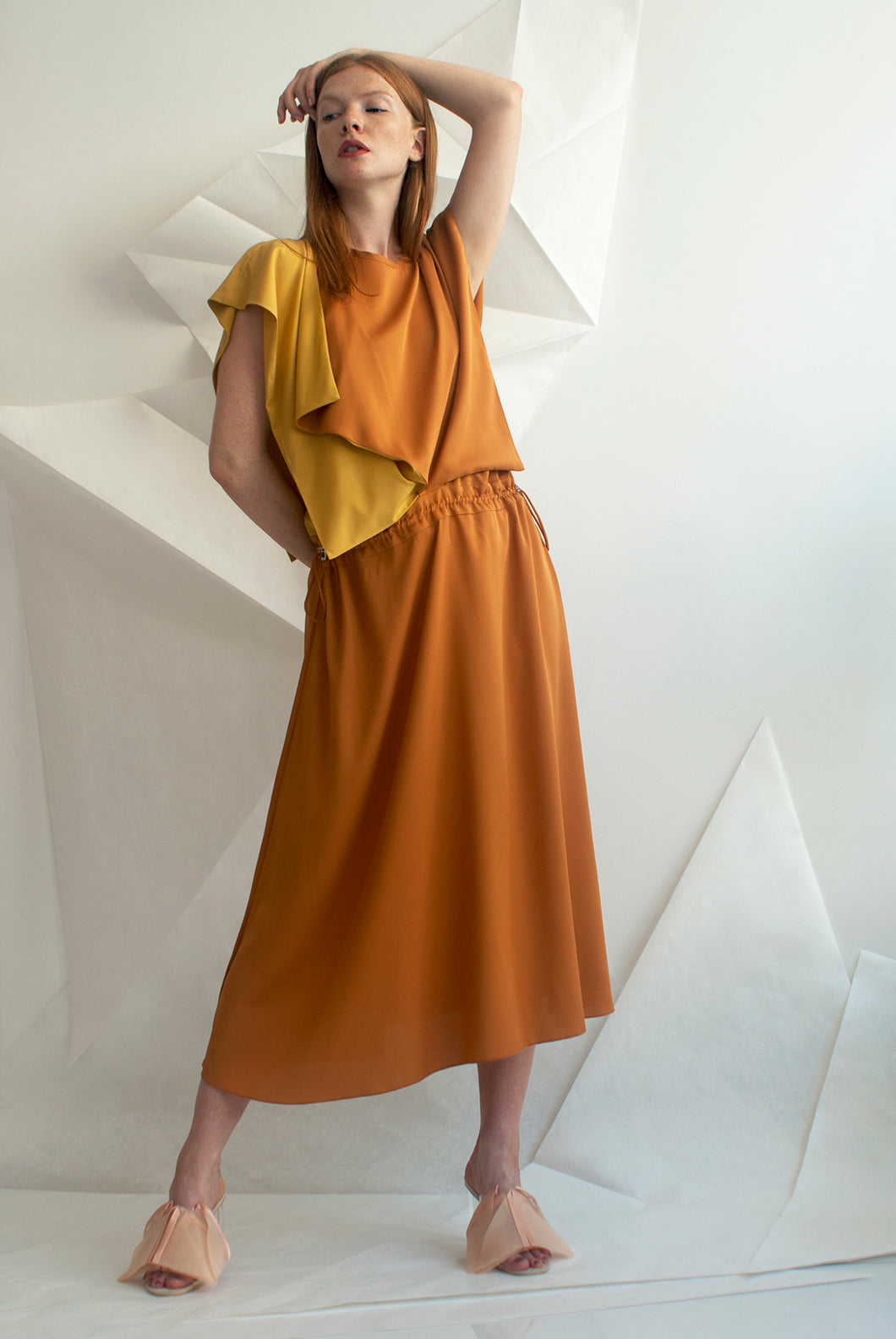 Two-tone Crepe Wing Dress