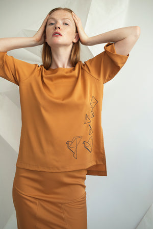 Printed Bird Tee Top