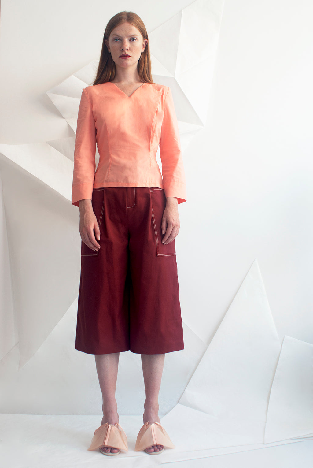 Cotton Gabardine Wide Leg Shorts