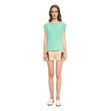 Load image into Gallery viewer, model wearing hand beaded crepe shorts