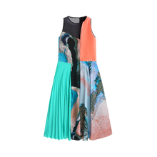 Load image into Gallery viewer, Printed Pleats Silk Dress