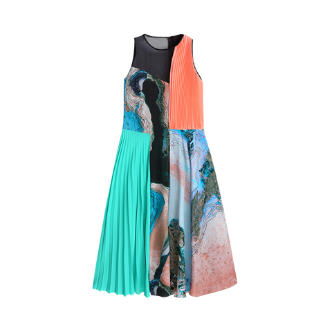 Printed Pleats Silk Dress