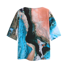 Load image into Gallery viewer, water print silk top back view