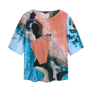 water print silk top