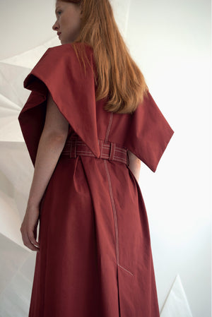 back view wing coat dress