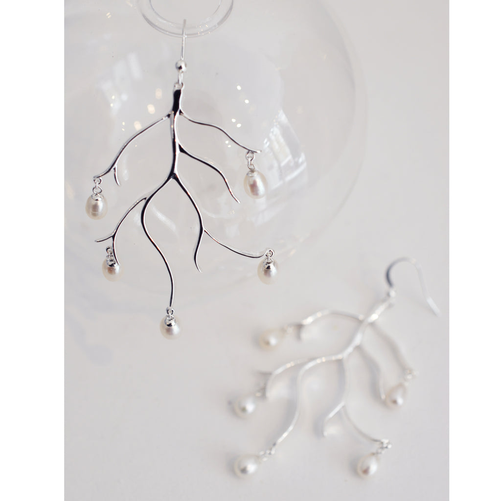 Freshwater Pearl Branch Earrings Silver