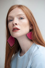 Load image into Gallery viewer, Asymmetric Leather-Brass Earrings