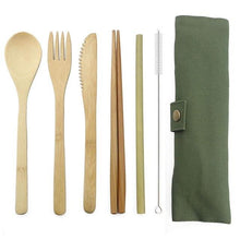 Load image into Gallery viewer, Bamboo Travel Cutlery Set