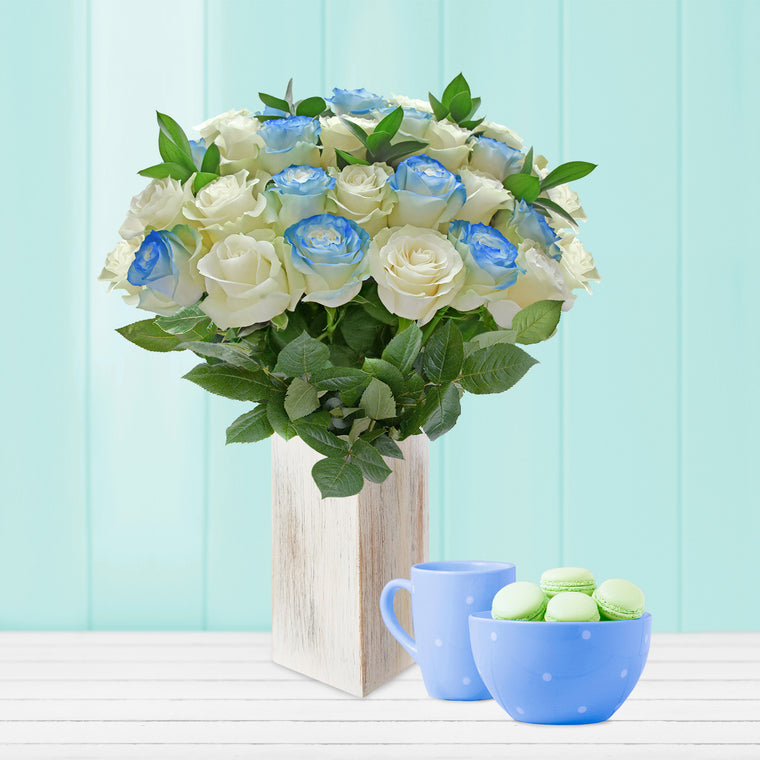 Roses and Ruscus Airbrushed Blue Bouquet - EbloomsDirect