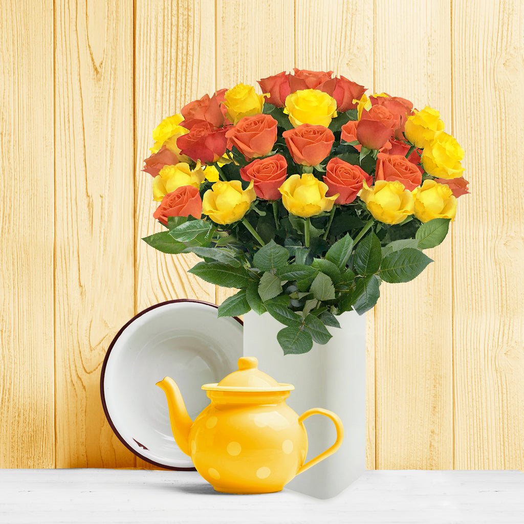 Love in a box 50 Roses Yellow & Orange 50cm - Vase Included- EbloomsDirect