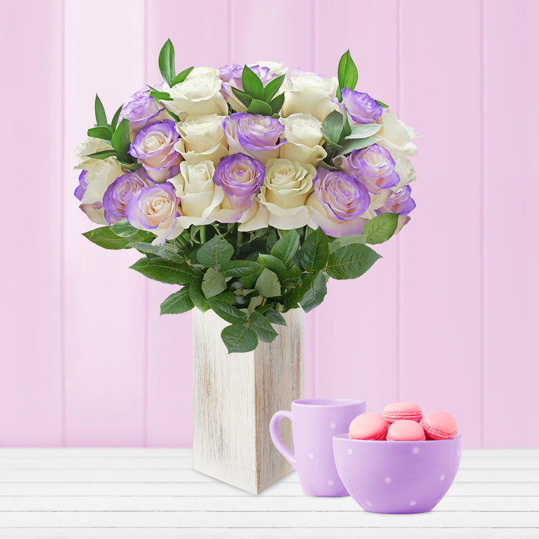 Roses Airbrushed Bouquet Lavender 50cm - EbloomsDirect
