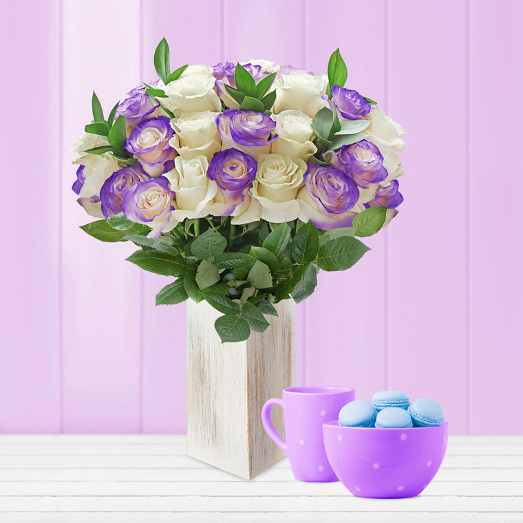 Purple Airbrushed Roses and Ruscus Bouquet - EbloomsDirect