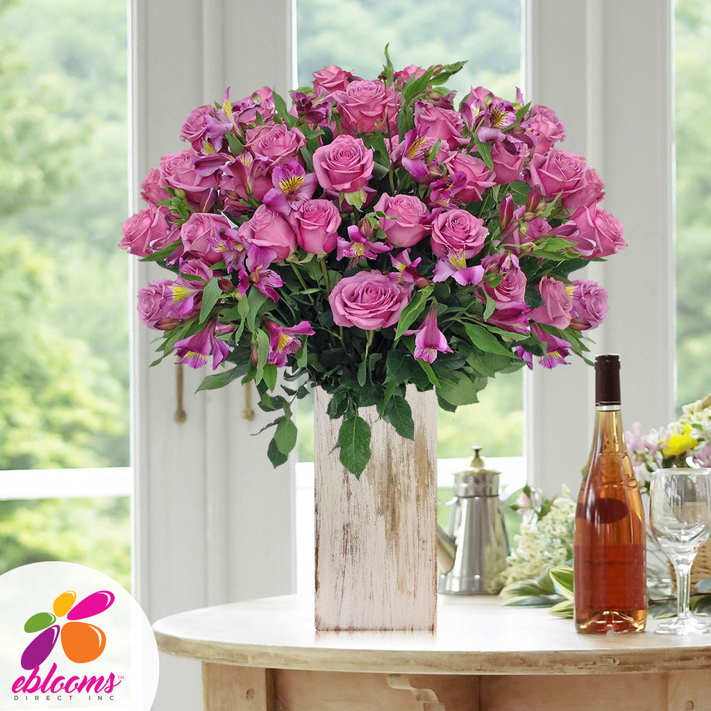 Lavender Alstroemeria & Rose Bouquet for valentine's day