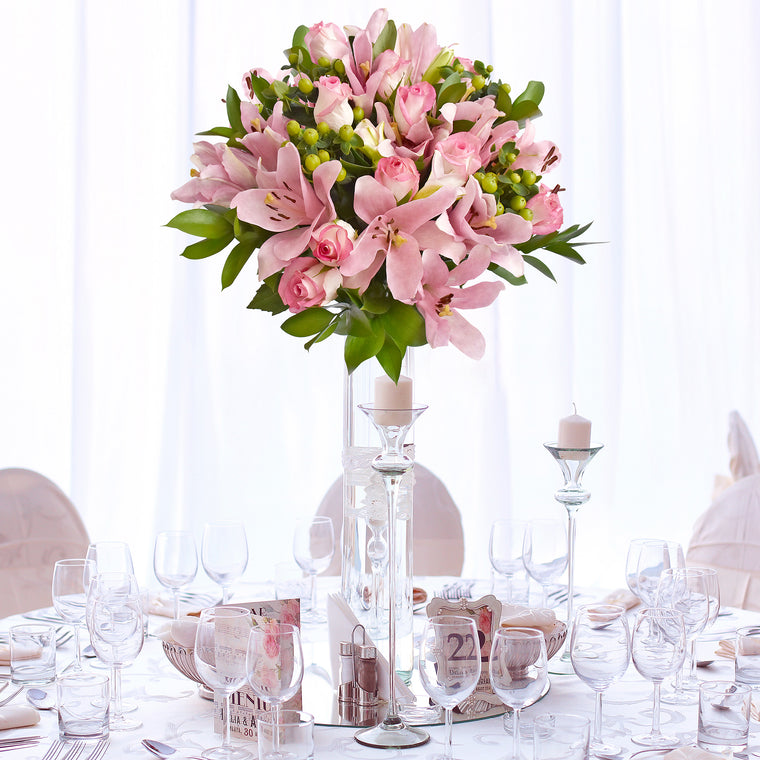 30 stems Mixed bouquet 50cm Graceful Elegance - Light Pink - Pack 5 - EbloomsDirect