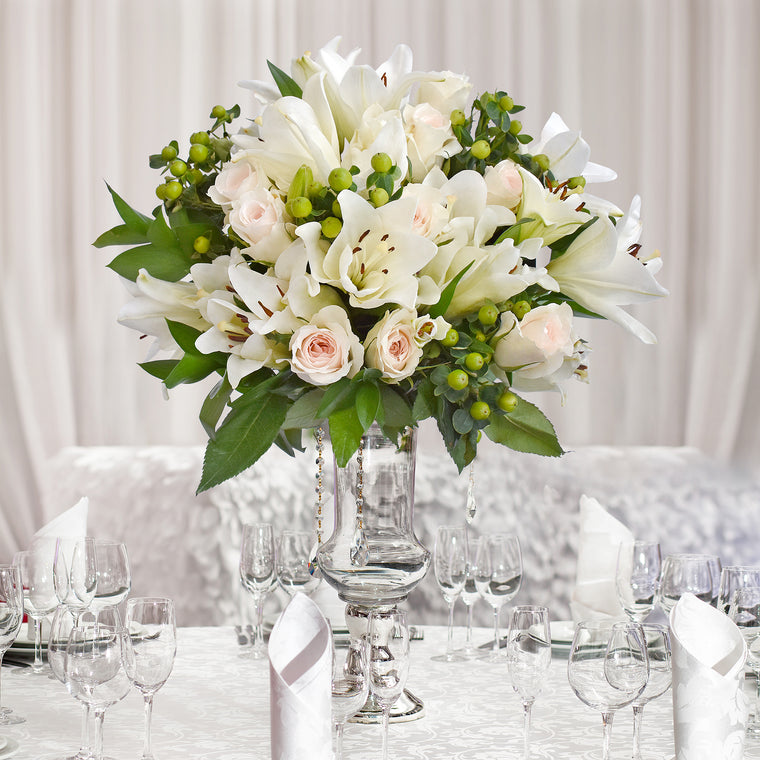 30 stems Mixed bouquet 50cm Graceful Elegance - White Cream - Pack 5 - EbloomsDirect