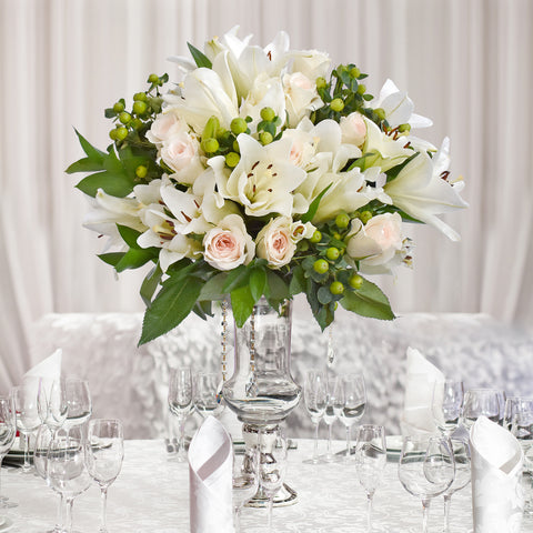 White wedding centerpieces - Graceful Elegance - Pack 5 - EbloomsDirect