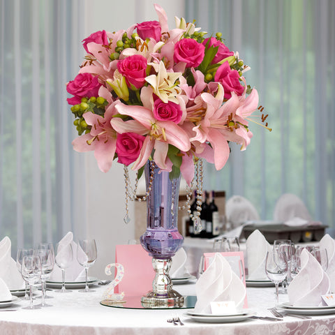 30 stems Mixed bouquet 50cm Graceful Elegance - Hot Pink/Light Pink- Pack 5 - EbloomsDirect