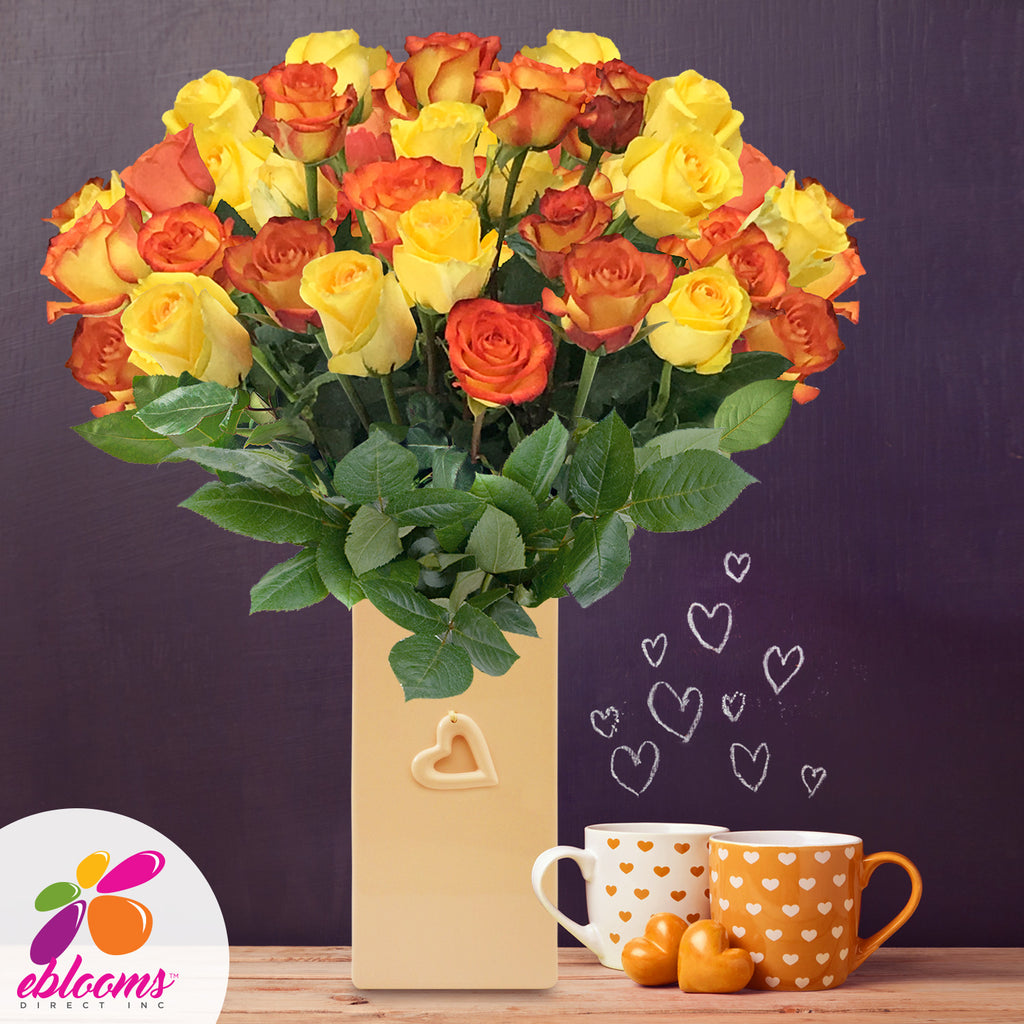 Yellow and Bicolor orange roses roses the best flower arrangement centerpieces bouquets to order online for any ocassion weddings, or event planners and valentine's day
