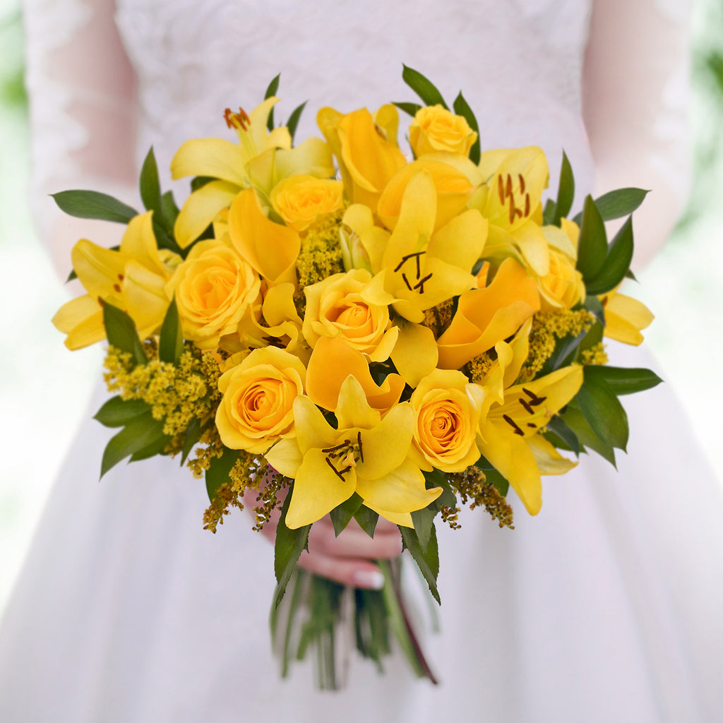 30 stems Mixed bouquet 50cm Royal Affair - Yellow - Pack 5- EbloomsDirect