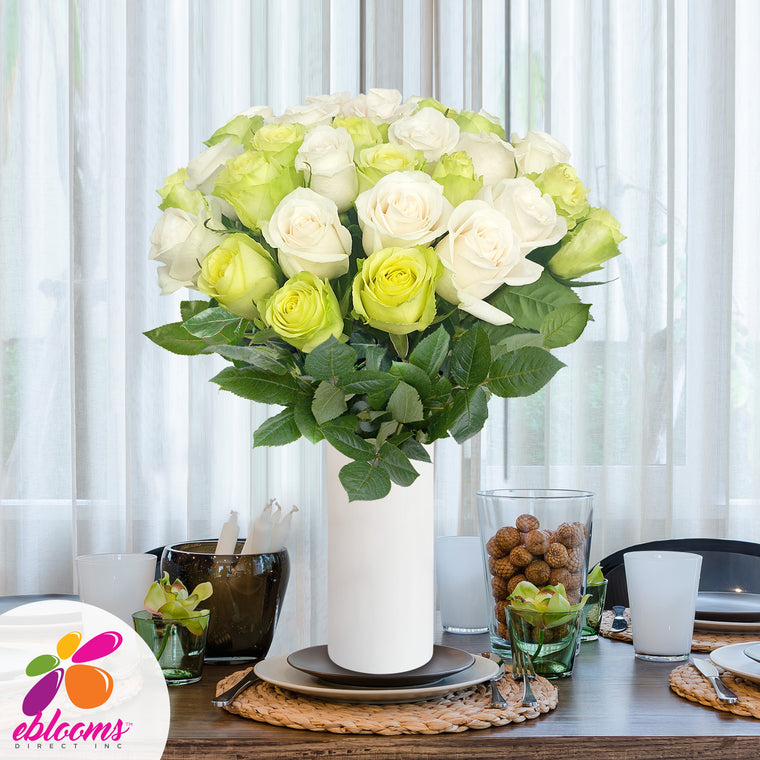 Green and White roses the best flower arrangement centerpieces bouquets to order online for any ocassion weddings, or event planners