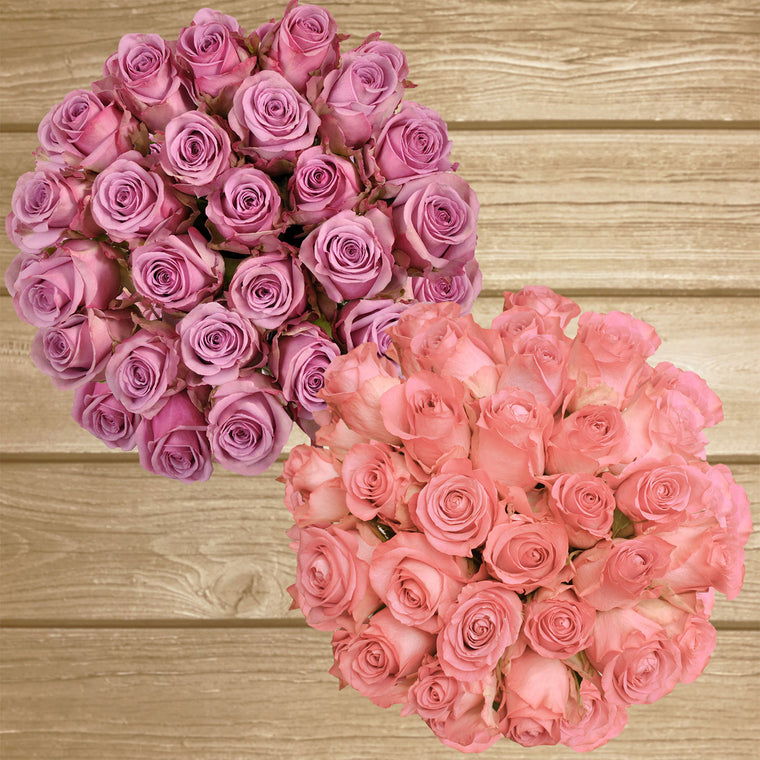 Roses Lavender and Light Pink 50cm