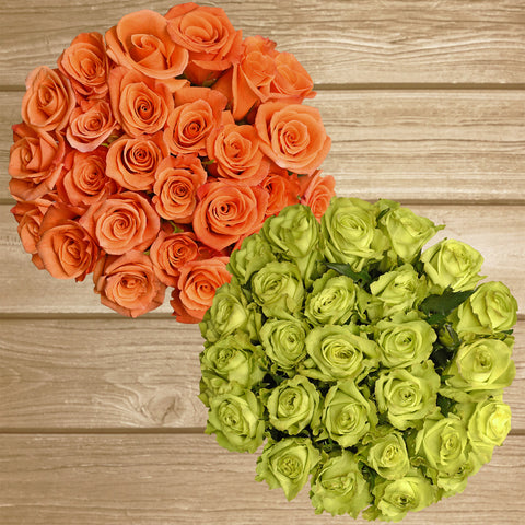 Green and orange roses the best flower arrangement centerpieces bouquets to order online for any ocassion weddings, or event planners and valentine's day