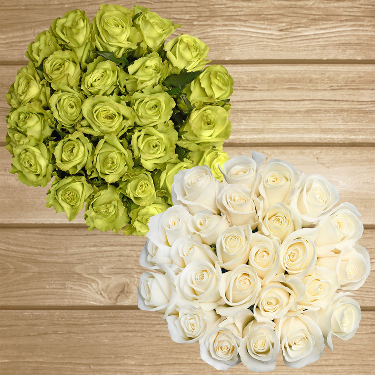 Roses White and Green 50cm