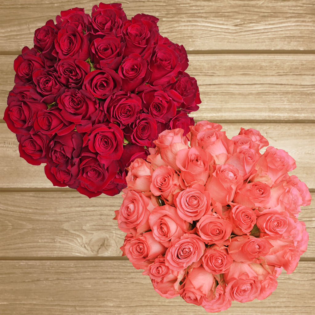 Red and Coral roses the best flower arrangement centerpieces bouquets to order online for any ocassion weddings, or event planners and valentine's day