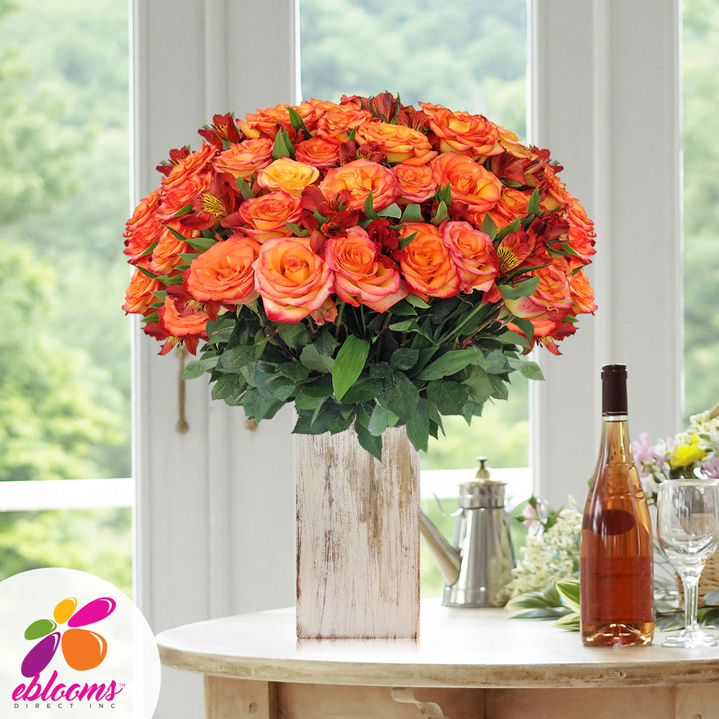 Rose & Alstroemeria Orange Monochromatic Pack 8 Bouquets - EbloomsDirect