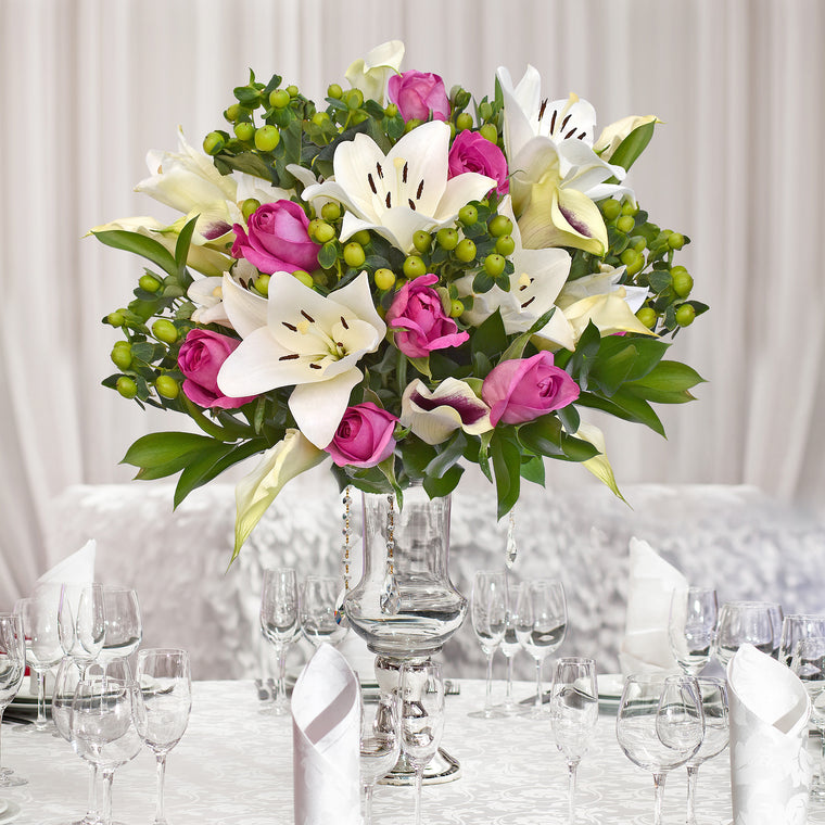 30 stems Mixed bouquet 50cm Royal Affair - White and Hot Pink - Pack 5- EbloomsDirect