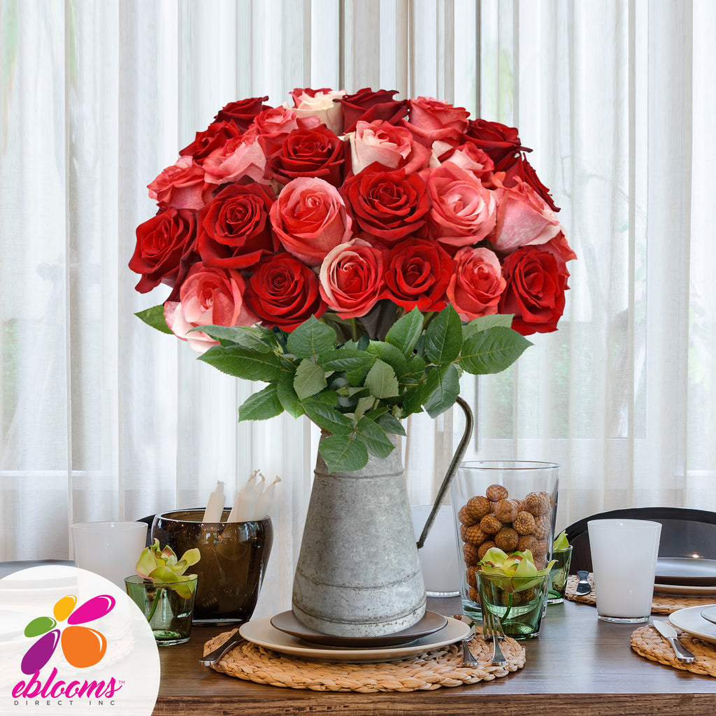 Red & Bi-color Red/White Tinted Roses - EbloomsDirect Farm Fresh  Weddings & Events 2019-2020✔