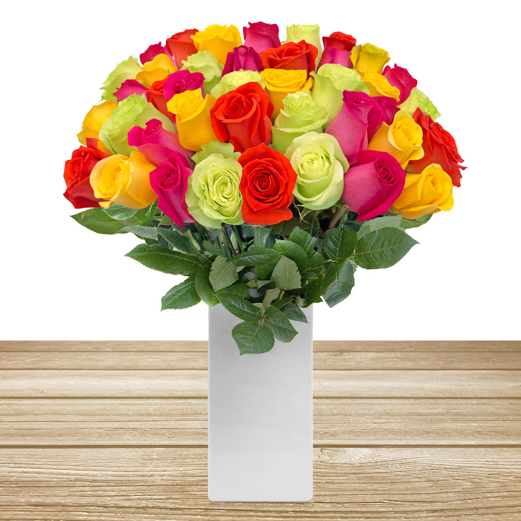 Rainbow bright roses the best flower arrangement centerpieces bouquets to order online for any ocassion weddings, or event planners and valentine's day