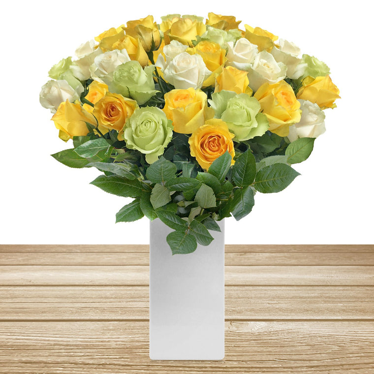 Classic Rose Boquet Trio Yellow White and Green