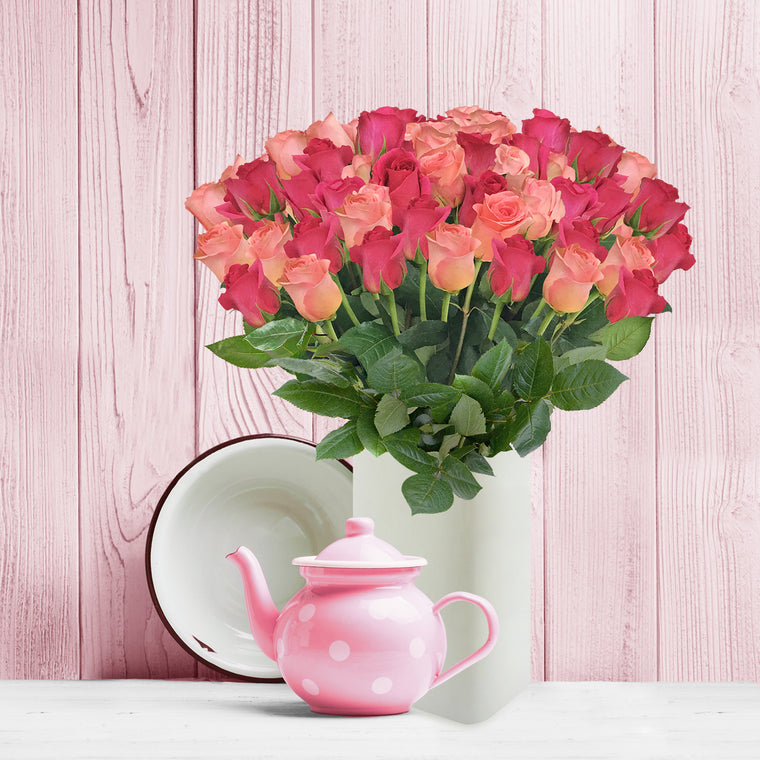 Love in a box 50 Roses hot Pink & Light pink 50cm - Vase Included- EbloomsDirect
