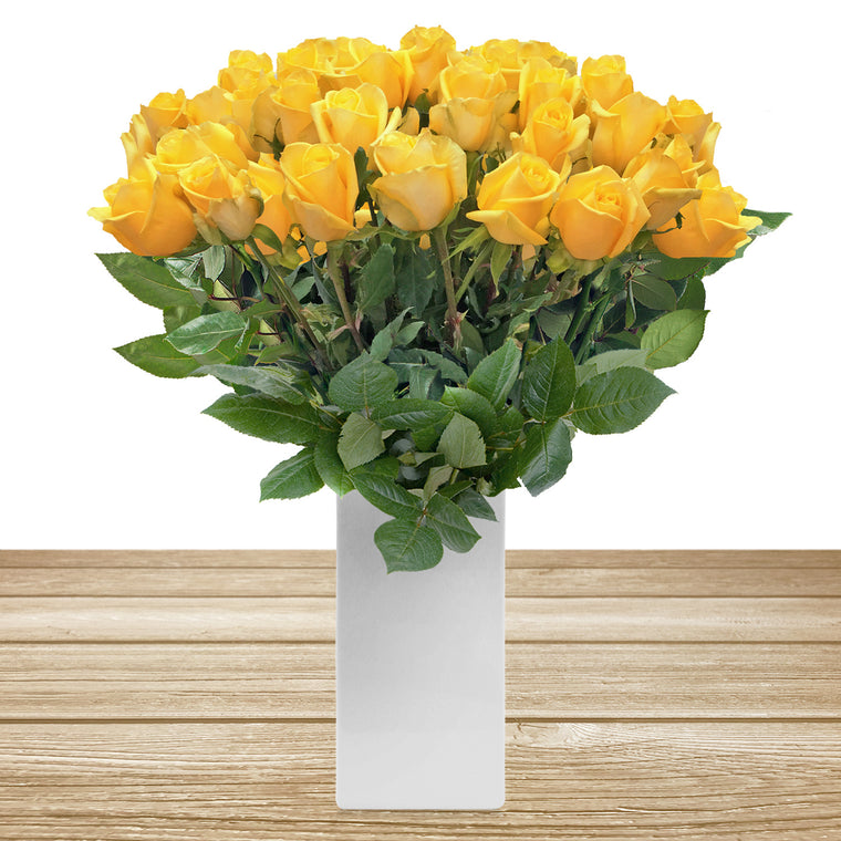 Roses Yellow 60cm Long Stem Pack 100 stems - EbloomsDirect