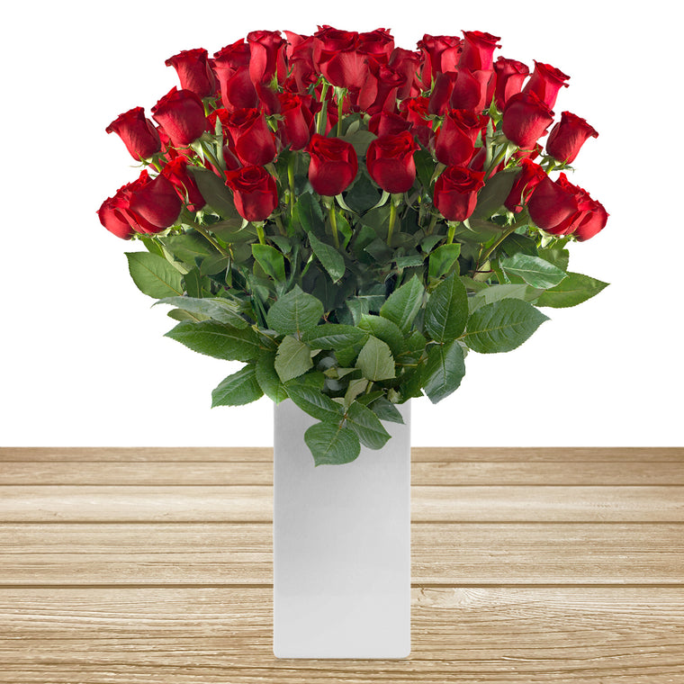 Love in a box 50 Roses Red 50cm - Vase Included- EbloomsDirect