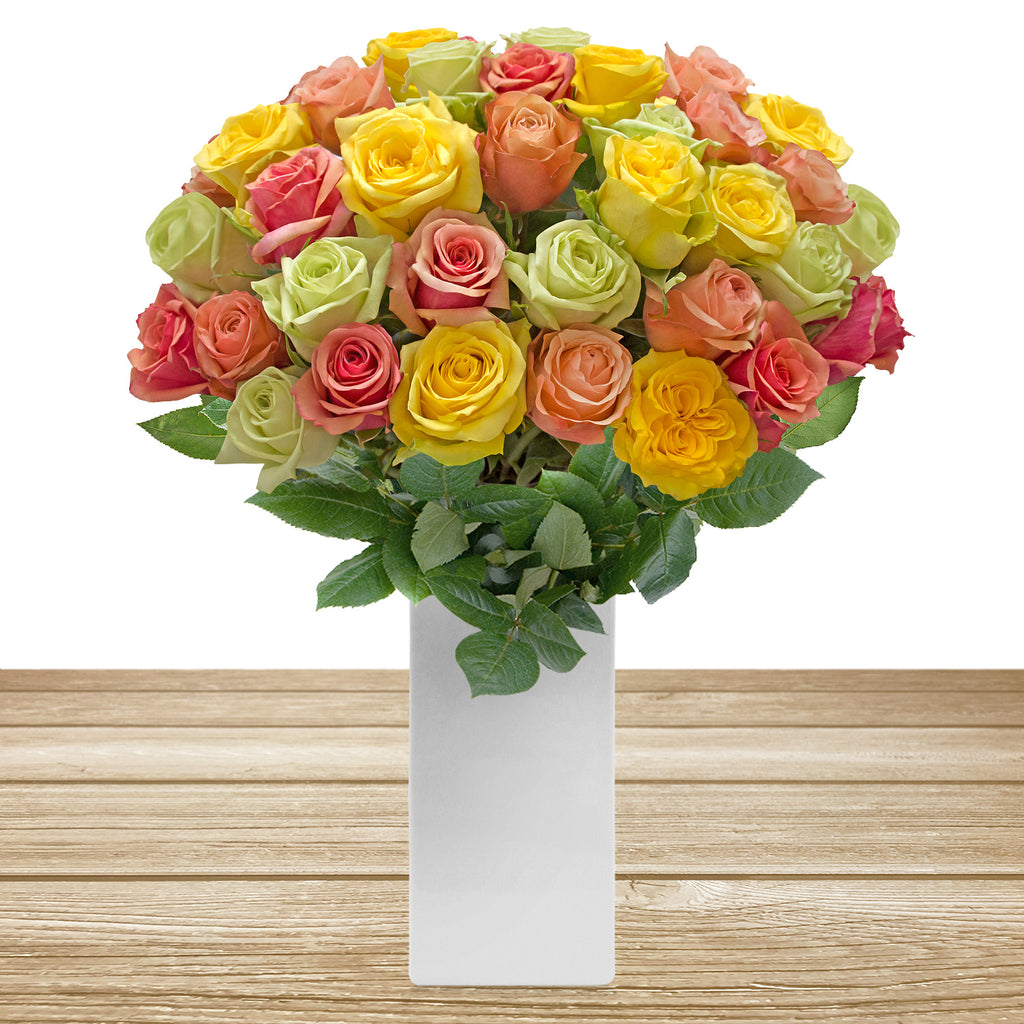 Rainbow pastel roses the best flower arrangement centerpieces bouquets to order online for any ocassion weddings, or event planners and valentine's day