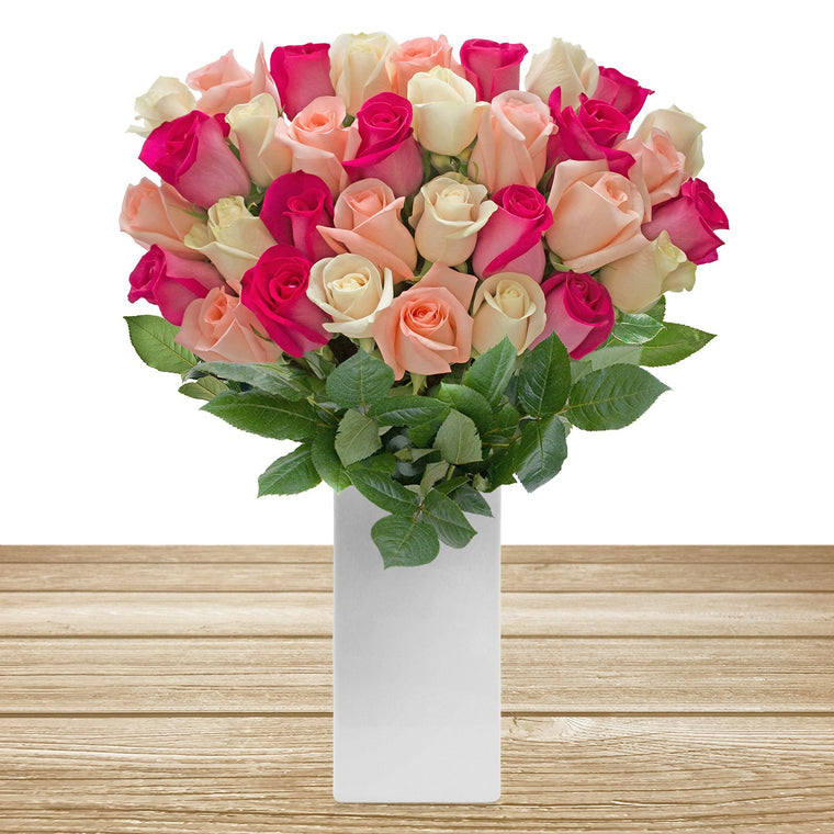 Classic Rose Bouquet Trio Hot Pink, Light Pink and White