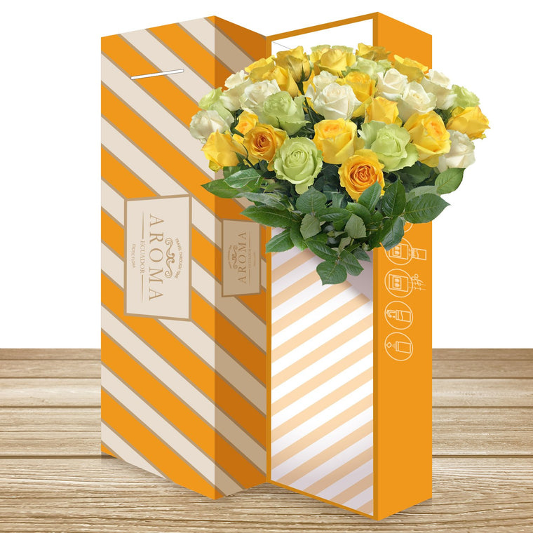 25 CLASSIC ROSE BOUQUET Trio Yellow - White and Green