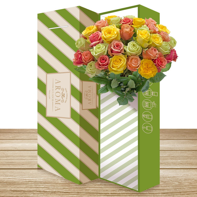 25 CLASSIC ROSE BOUQUET Rainbow Pastel
