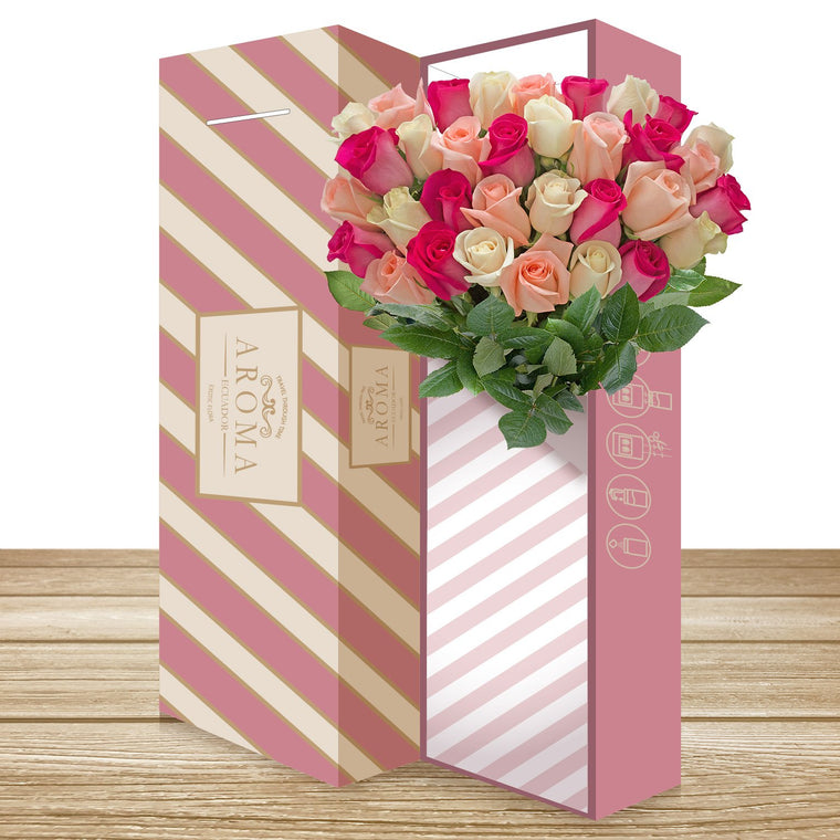 25 CLASSIC ROSE BOUQUET Trio Hot Pink, Light Pink and Cream
