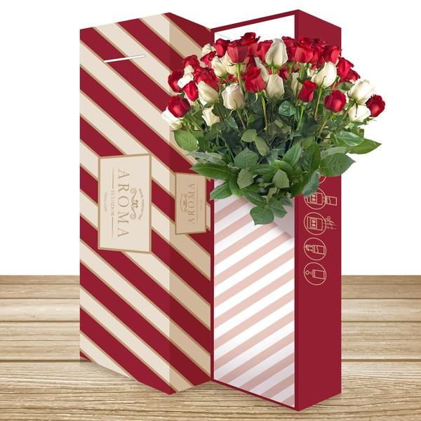 CLASSIC ROSE BOUQUET  Red & White - EbloomsDirect