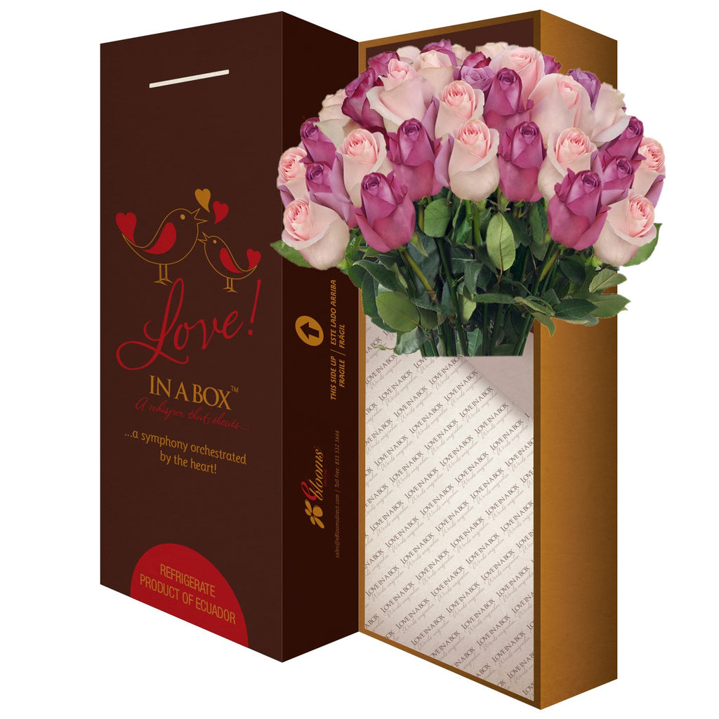 Love in a box 50 Roses lavender & Light pink 50cm - Vase Included- EbloomsDirect