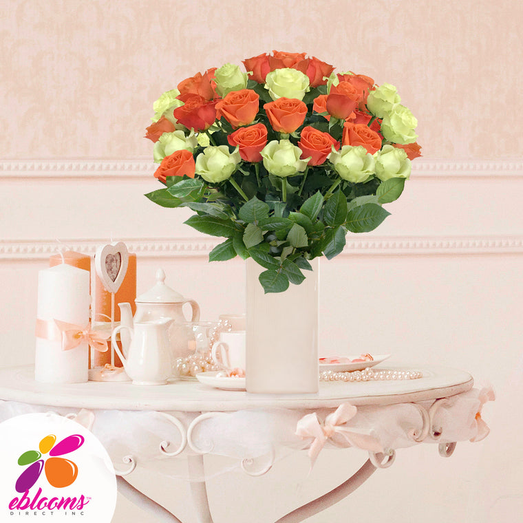 Green and orange roses the best flower arrangement centerpieces bouquets to order online for any ocassion weddings, or event planners
