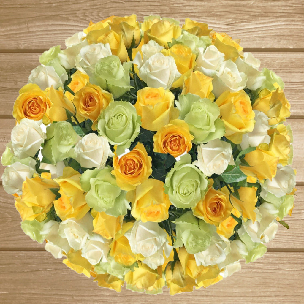 Trio yelow white and green roses the best flower arrangement centerpieces bouquets to order online for any ocassion weddings, or event planners and valentine's day