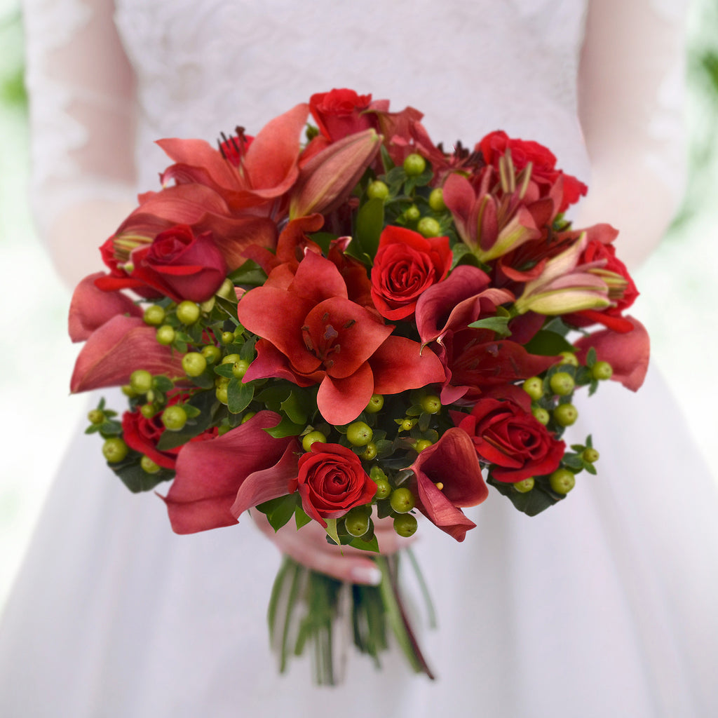 30 stems Mixed bouquet 50cm Royal Affair - Red Bright- Pack 5 - EbloomsDirect