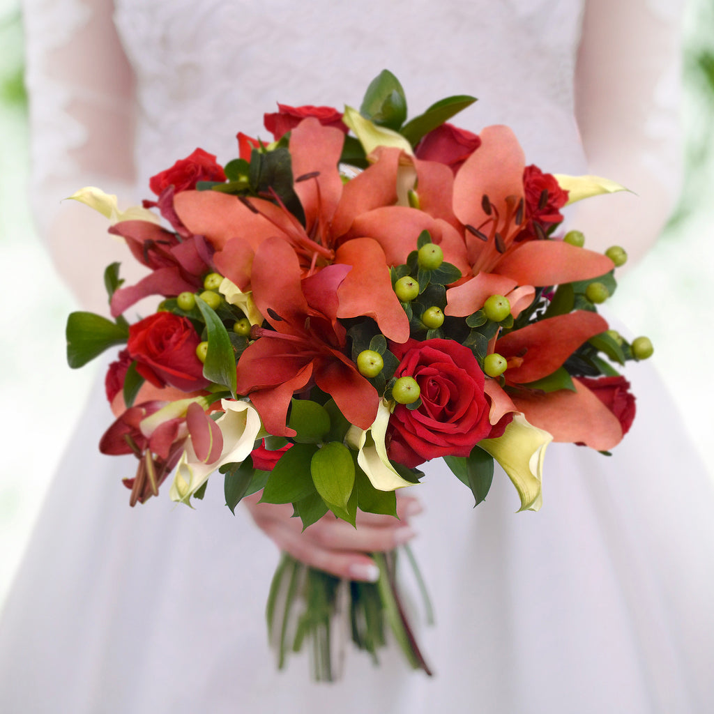 30 stems Mixed bouquet 50cm Royal Affair - Red/Coral - Pack 5- EbloomsDirect