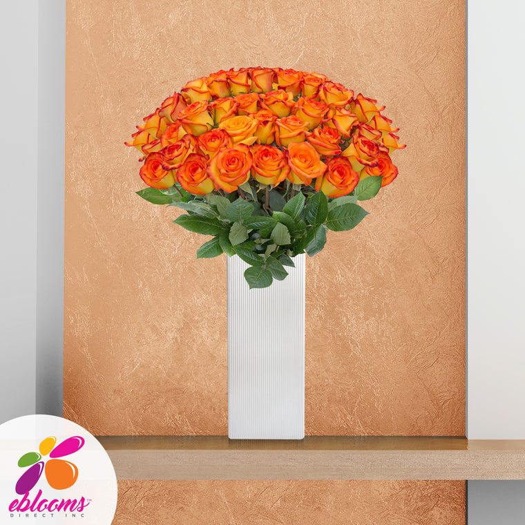 Fireworks Premium 36 Roses Bicolor Yellow Orange 80cm Gift W-Vase - EbloomsDirect