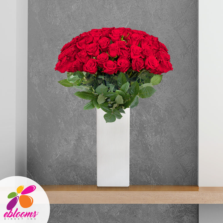 Fireworks Premium 36 Roses Red 80cm Gift with Vase - EbloomsDirect